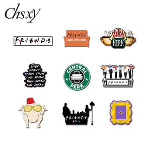 CHSXY 90s Friends TV Show Series Shrinky Resin Collar Pin Central Perk Monica's Apartament Epoxy Acrylic Brooch Friendship Gift