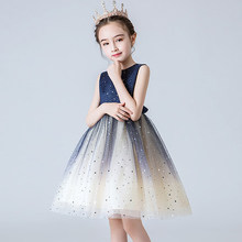 Elegant Girls' Evening Dress Gradient Colour Starry Sky Sleeveless Party Dress Princess Blue Lace Costumes Christmas Gift ZL19
