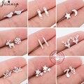 Trendy Minimalistischen Echt 100% 925 Sterling Silber Ohrringe Mini Katze Musik Sterne Mond Stud Ohrringe für Frauen Teen Schmuck Geschenk