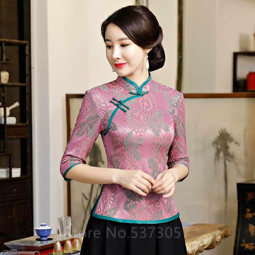 2020 繁体字中国語服女性女性フェスティバルレトロヴィンテージ袍のチャイナエレガントなトップレースタイトな唐スーツスカートセット