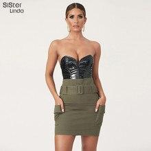 Sisterlinda Black PU Leather Bodysuit Sexy Bodysuit Women V-neck Strapless Lady Rompers Streetwear Party Bodysuit Mujer Jumpsuit