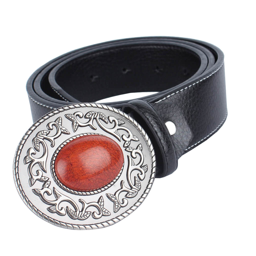 Women Men Waistband Waist Strap Belt Girdle With Tang Grass Big Ruby Buckle Girl Luxury Genuine Leather Belts Fashion