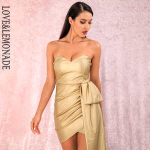Image 5 - LOVE & LEMONADE Vestido corto cruzado de PU, Sexy, dorado, Bandeau, cuello en V, para fiesta, LM82017