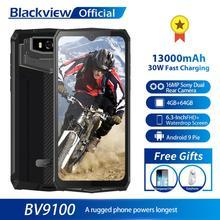 Blackview BV9100 IP68 wodoodporny telefon komórkowy 13000mAH 30W szybkie ładowanie 4G telefon komórkowy MTK6765 4GB + 64GB 16 0 mp wytrzymały smartfon tanie tanio Nie odpinany CN (pochodzenie) Android Rozpoznawania linii papilarnych Rozpoznawania twarzy Inne 16MP SuperCharge Smartfony