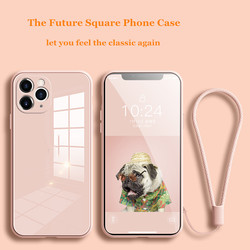 Square Tempered Glass Phone Case For iPhone 11 12 Pro Max XS Max X XR 7 8 Plus SE2 2020 Fu'll Camera Protection Cover With Strap