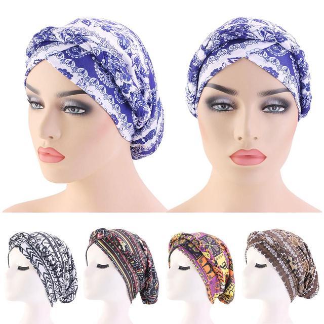 נשים כובע סרטן כימותרפיה כובע אתני מודפס מוסלמיים כפה צמת ראש טורבן צעיף כיסוי שיער אובדן ערבי מצנפת אופנה