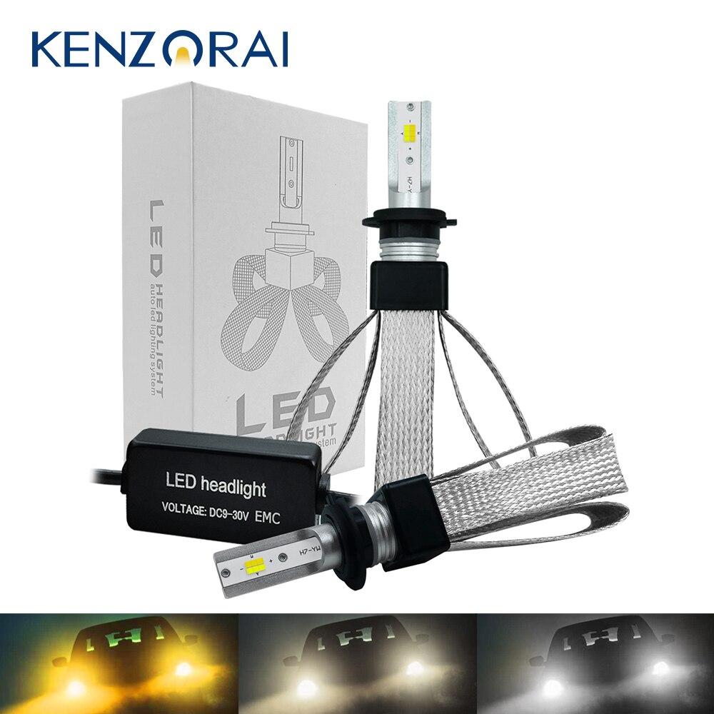 3000K 4300K 6000K Voiture phare ampoule lumière LED H7 H4 H1 H8 H9 H11 9005 HB3 9006 HB4 12 puces LED 60W 12V 9600LM Auto lumière LED s