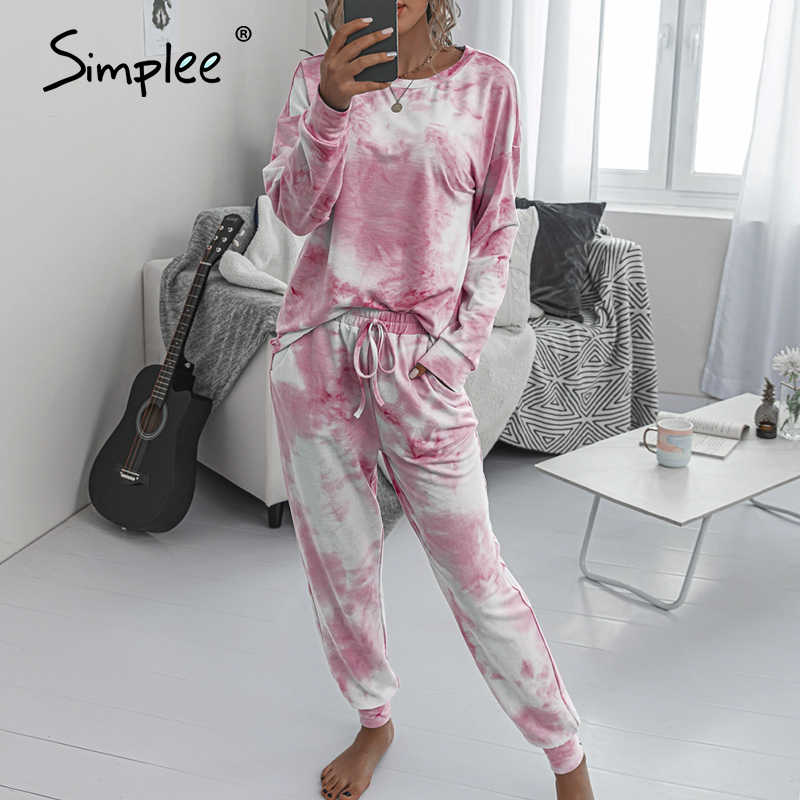 Simplee Casual Tie-Dye Suits Vrouwen Jumpsuits Plus Size Losse Lange Mouw Roze Suits Over Size Elastische Taille Past dames Suits