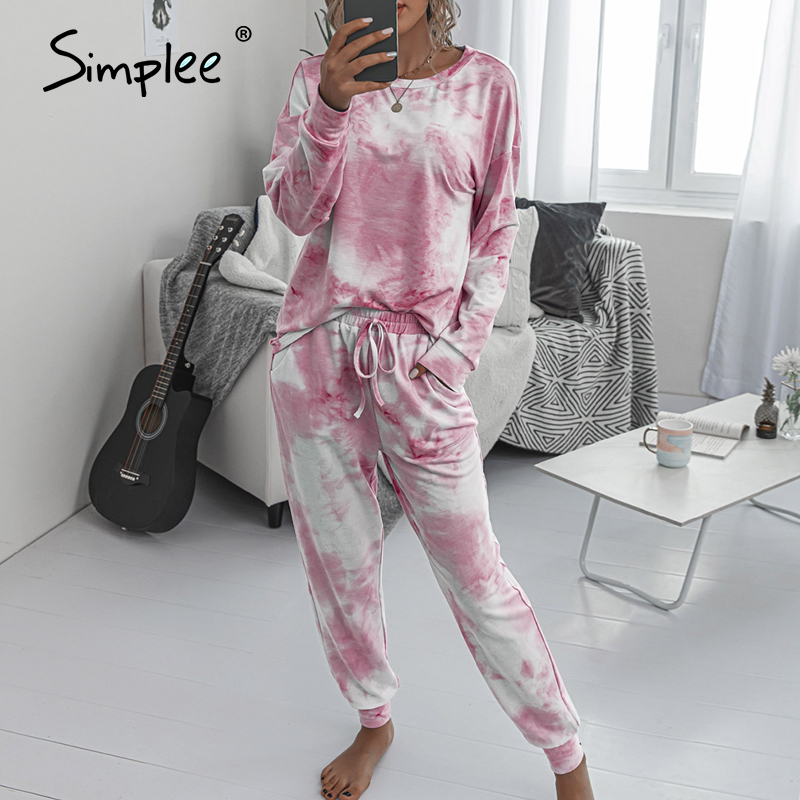Simplee Casual Tie-dye Suits Women Jumpsuits Plus Size Loose Long Sleeve Pink Suits Over Size Elastic Waist Suits Ladies Suits