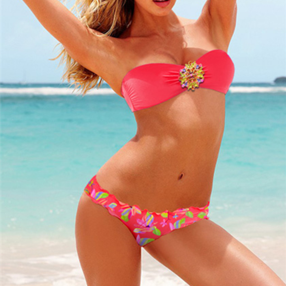 Womens Diamond Buckle Bikini Push-up Swimwear Tube Top Swimsuit Beachwear Bathing Biquinis Two Piece Swim Summer