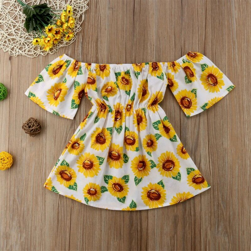 Summer Sunflower Dress Kid Baby Girl Clothes Princess Prom Floral Printed Off Shoulder Short Sleeve Dress