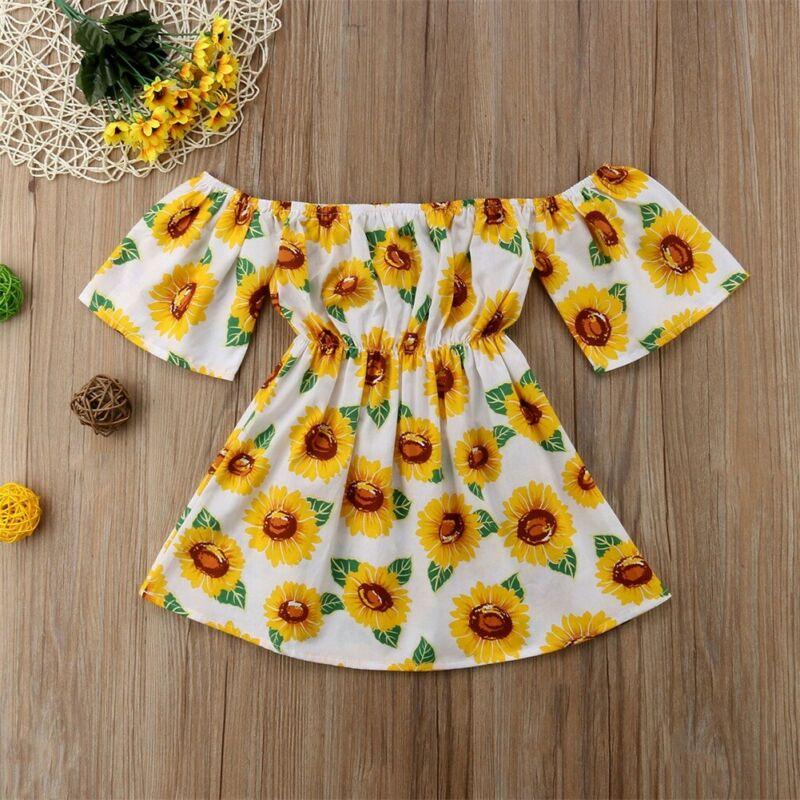 Summer Sunflower Dress Kid Baby Girl Clothes Princess Prom Floral Printed Off Shoulder Short Sleeve Dress