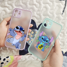 Durable Cute Cartoon Stich Mobile Phone Translucent Matte Clear Soft For Iphone 11 12 Pro Max 7 8 Plus X Xs Max Xr Cover Fundas