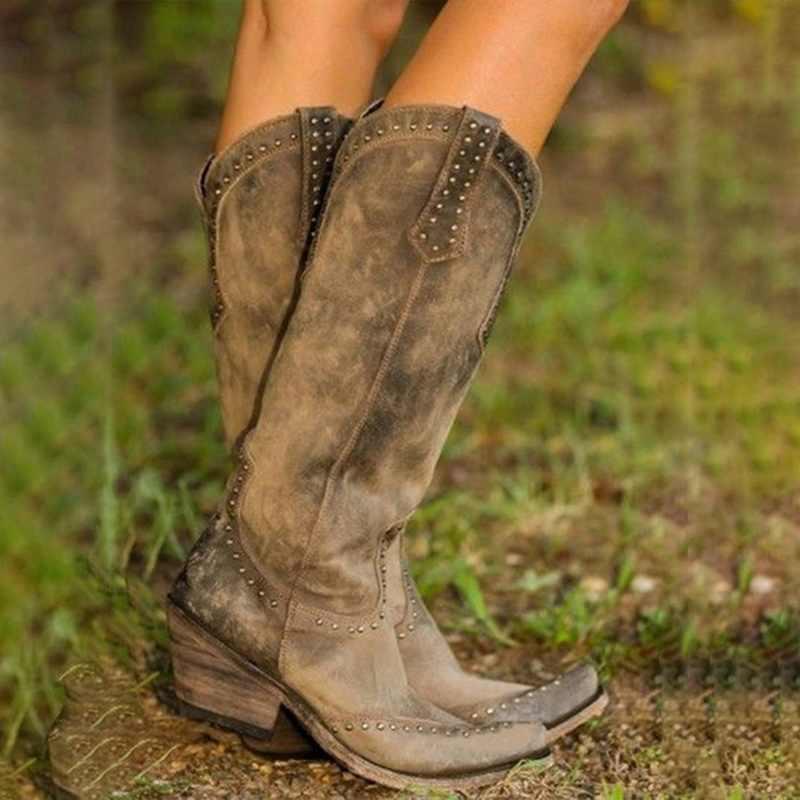 Bayan botları Retro perçin diz yüksek çizmeler el yapımı deri uzun patik kadınlar yüksek kovboy çizmeleri moda rahat ayakkabılar