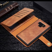 Retro Leather Case Flip Cover for Samsung Galaxy S8 S9 S10 Plus Note 8 9 Tri fold Wallet Purse Phone Bag Magnetic Back Shell