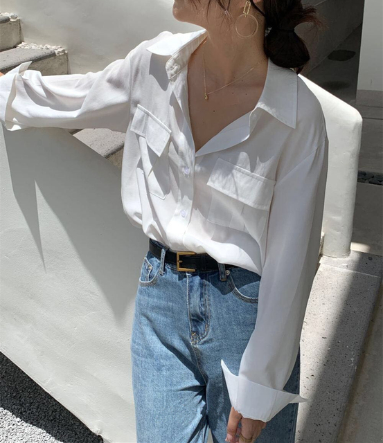 REALEFT Autumn 2020 New Solid White Women's Blouse Pockets Shirt Tops Long Sleeve Turn-down Collar Korean Style Loose Blouses 3