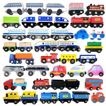 Wooden train magnetic link can be connected to wooden train set track toy children's puzzle hand push delicate toy car zhenwei magnetic thomas train wooden track car children s puzzle early learning toy cake decoration diecast train action figure