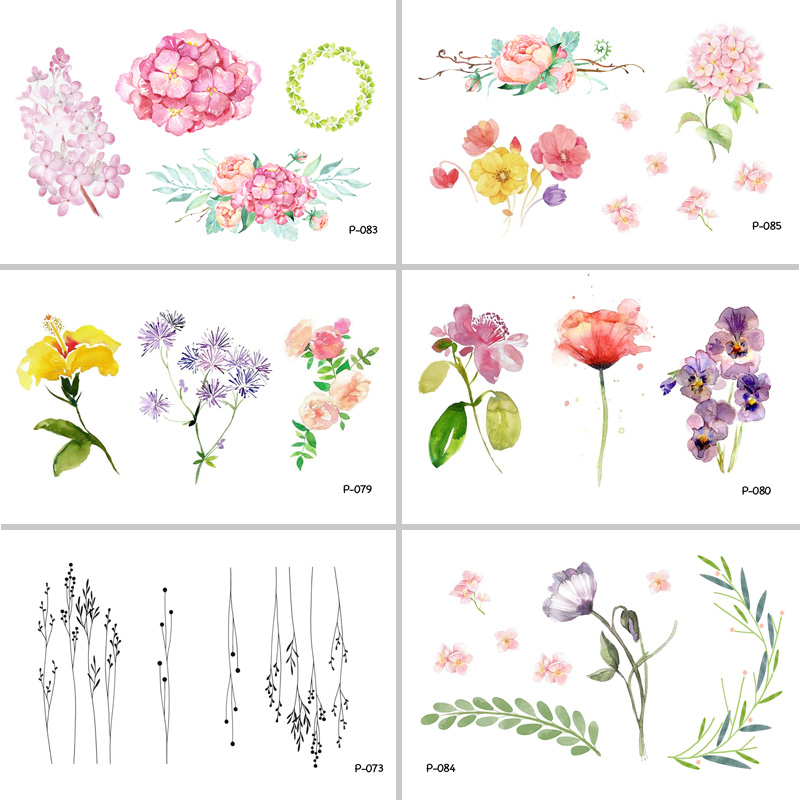 WYUEN Watercolor Flower Waterproof Temporary Tattoo Stickers for s Kids Body Art Fake Tatoo for Women Men Tattoos P-080