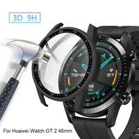 Custodia protettiva in vetro temperato con quadrante per PC custodia protettiva per Huawei Watch GT 2 46mm accessori per Smartwatch con protezione dello schermo a copertura totale