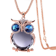 Vintage Lovely Owl Pendants Rose Gold Popcorn Chain Women's Long Sweater Chain Crystal Pendant Necklace For Women wholesale fine purple crystal pendants carved gold fish pendant sweater chain necklace luck for women men noble jewelry