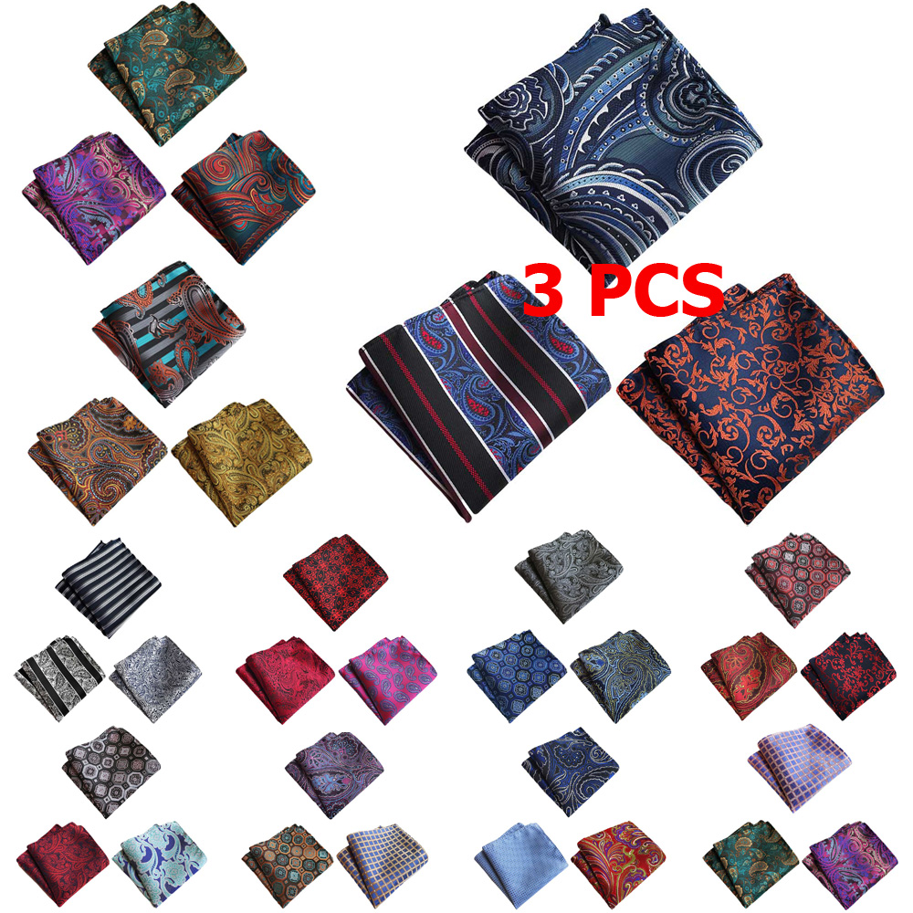 3 PCS Men Classic Flower Paisley Pocket Square Handkerchief Wedding Hanky NEW
