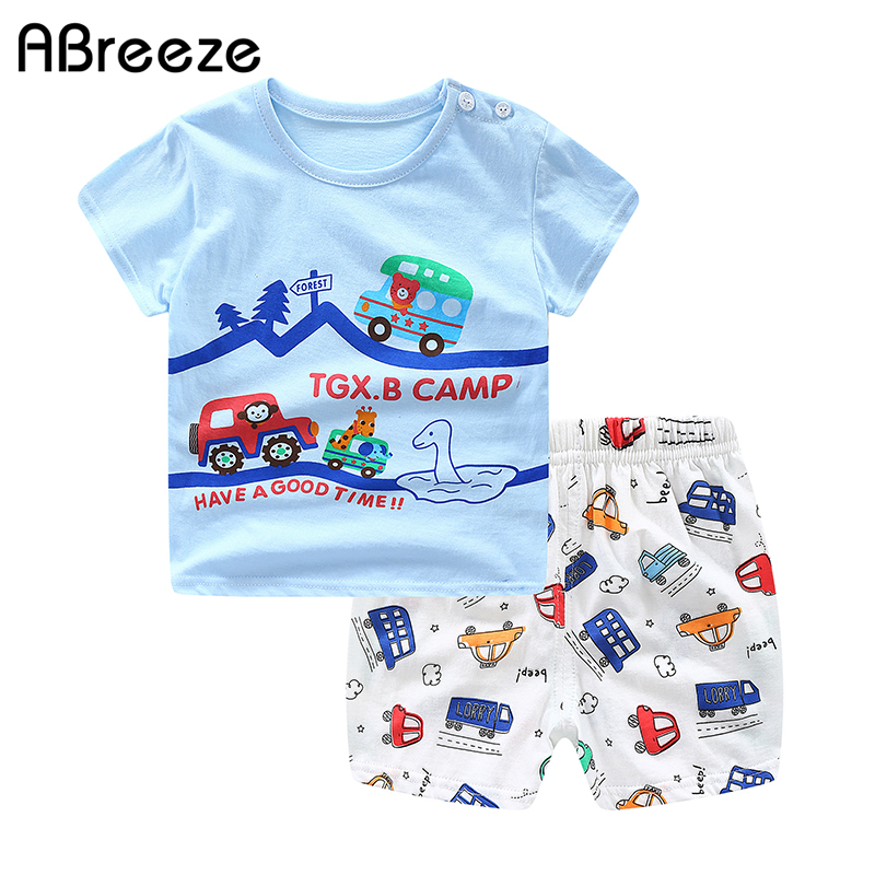 2020 Summer Baby Sets For Boys & Girls Cotton Blue Car Print Baby Clothes Sets 0-2Y Baby Clothing 2PCS