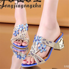 2019 new sandals summer fashion womens in thick with rhinestones wild shoeswomens shoes