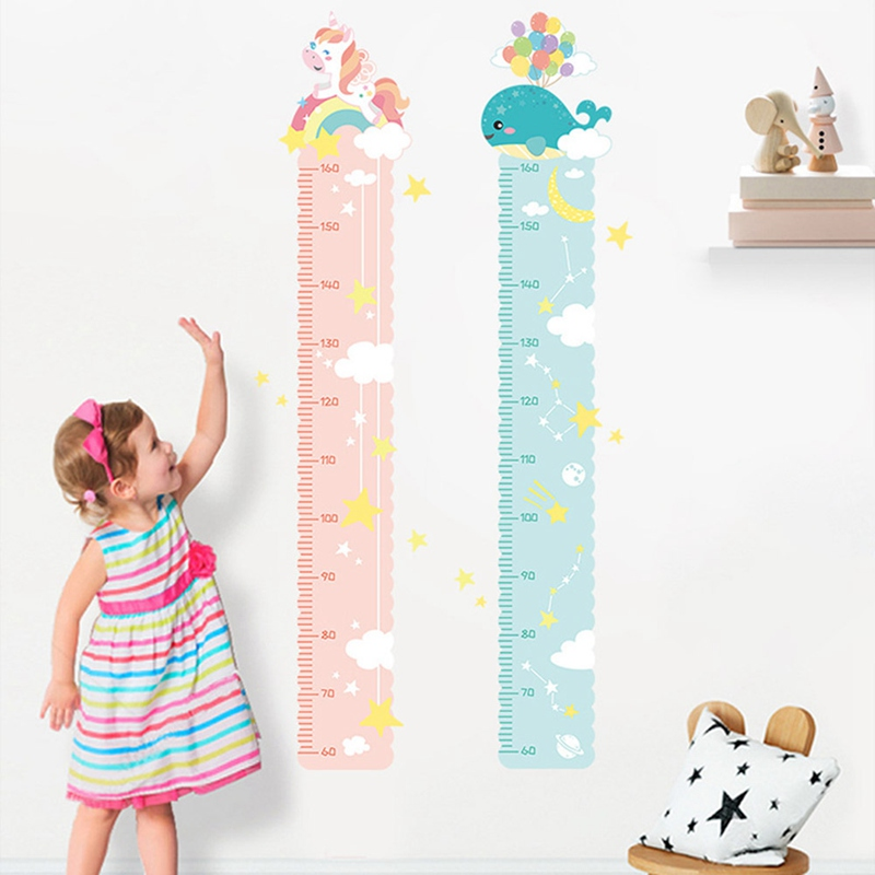 Colorful Animals Castle Unicorn Height Measure Wall Stickers For Kids Room Children Growth Chart Bedroom Wall Decal Poster Mural