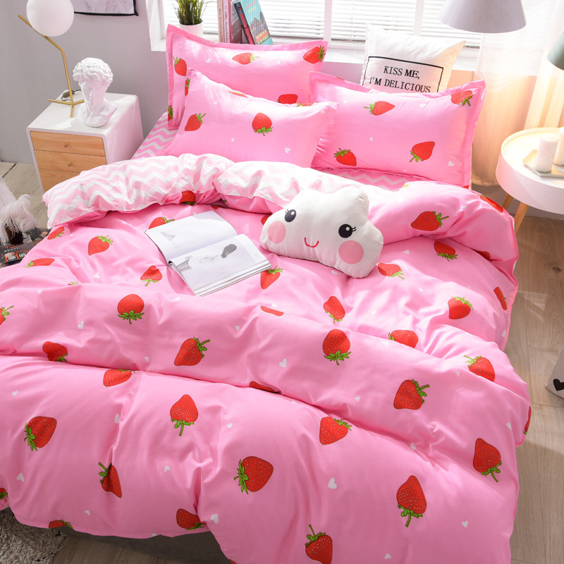 Hundred-Flower Type Bedding Article Aloe Cotton Brushed Four-piece Set Sheet Quilt Cover Tabby Spring And Summer-