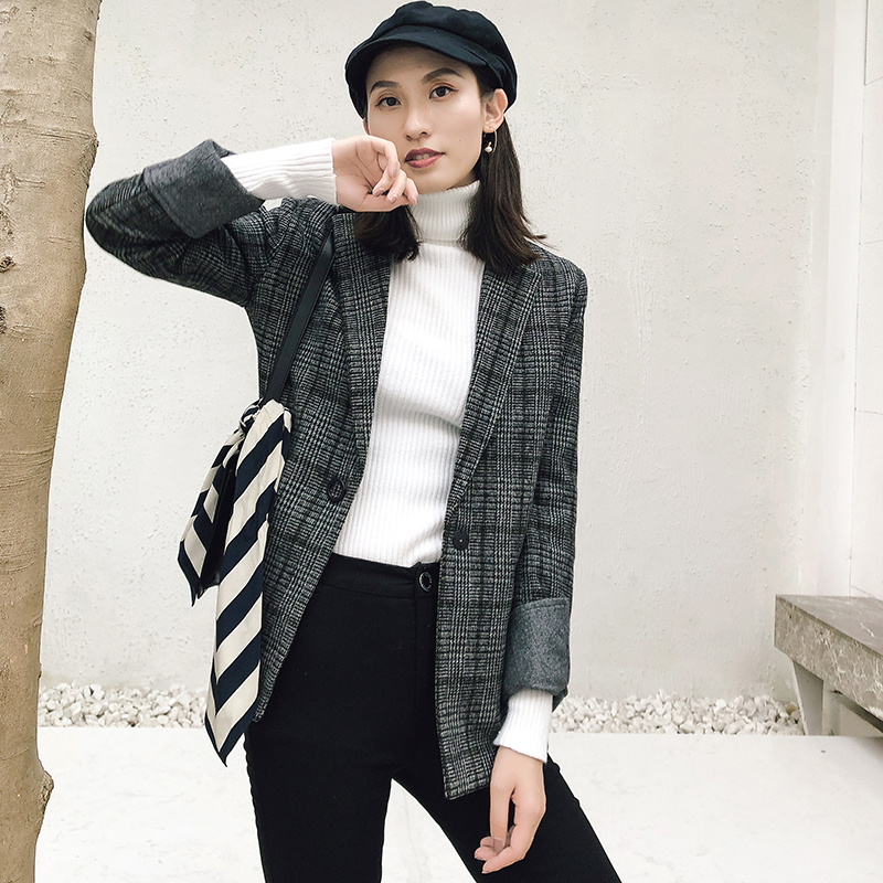Suit Coat Jacket Blazer Woman Woolen Vintage Autumn Winter Casual Straight Plaid Slim