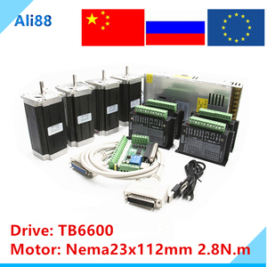 Nema 23 Stepper motor set:motor +TB6600 driver+ breakout board+350W 36v power supply CNC Router 4 axis kit(China)