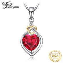 JewelryPalace Love Knot Heart 2.5ct Created Red Ruby Anniversary Pendant 925 Sterling Silver 18K Yellow Gold Without a Chain jewelrypalace luxury pear cut 7 4ct created emerald solid 925 sterling silver pendant necklace 45cm chain for women 2018 hot