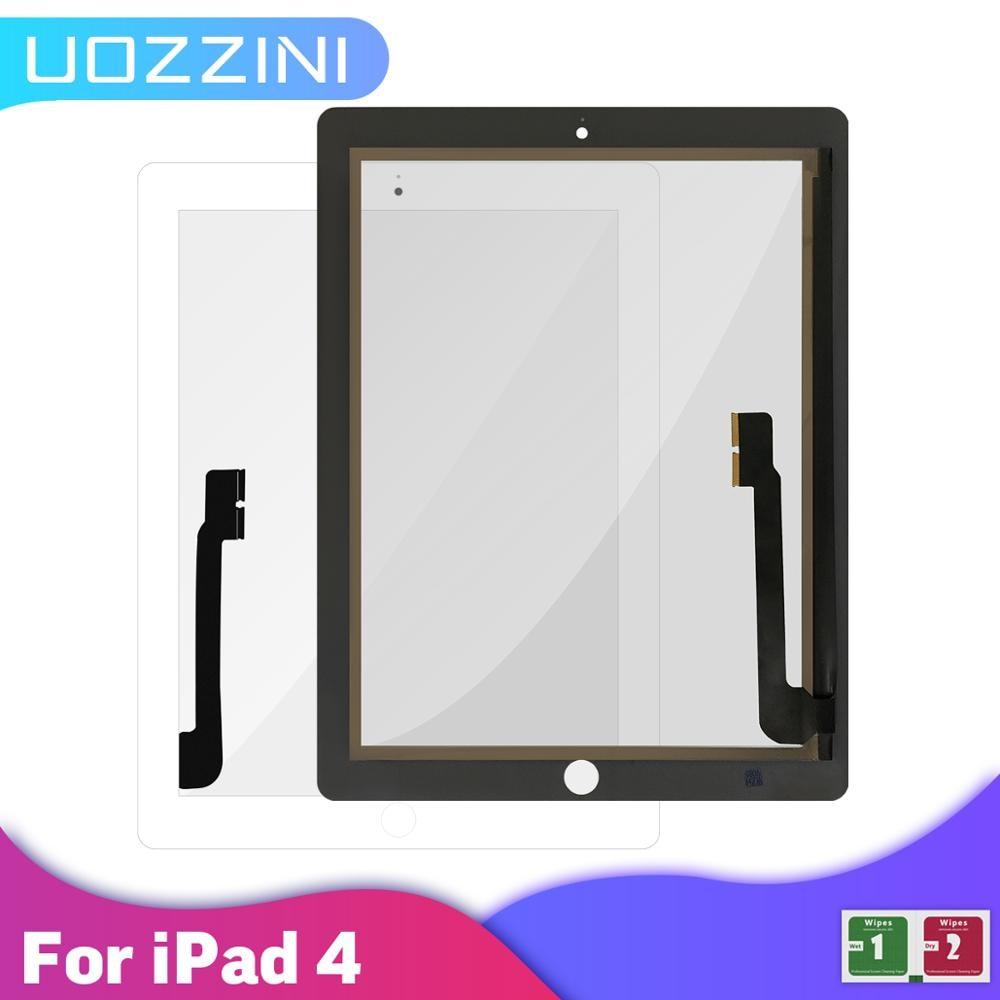 AAA +++ для iPad 4 сенсорный экран дигитайзер с/без кнопки Переднее стекло дисплей Сенсорная панель A1458 A1459 A1460 100% Протестировано