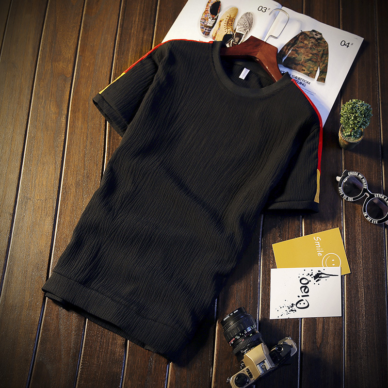 2019 Japanese-style Men With Cotton Short Sleeve T-shirt Trousers Set Fresh Breathable Comfortable Simple Set Fashion-Set
