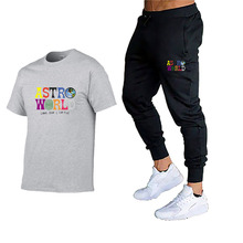 2020 summer new men's T-shirt sports suit + casual pants two-piece track men and women printed fitness