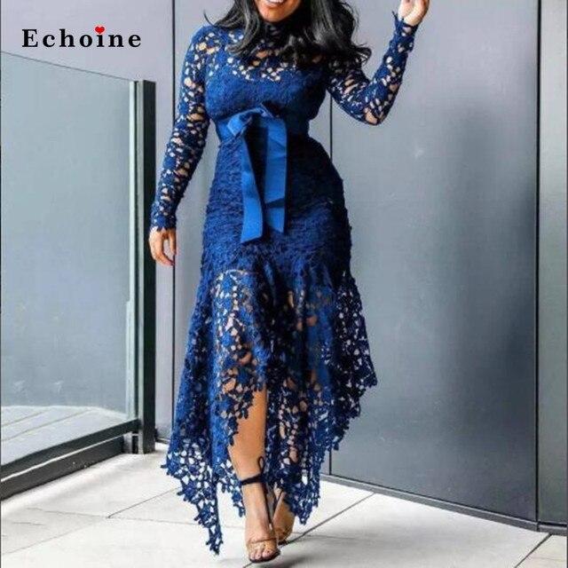 Echoine Slim Sexy Dress Women Spaghetti Straps Lace Mesh Perspective Party Fishtail Patchwork Midi Bodycon Plus Size Vestidos 2