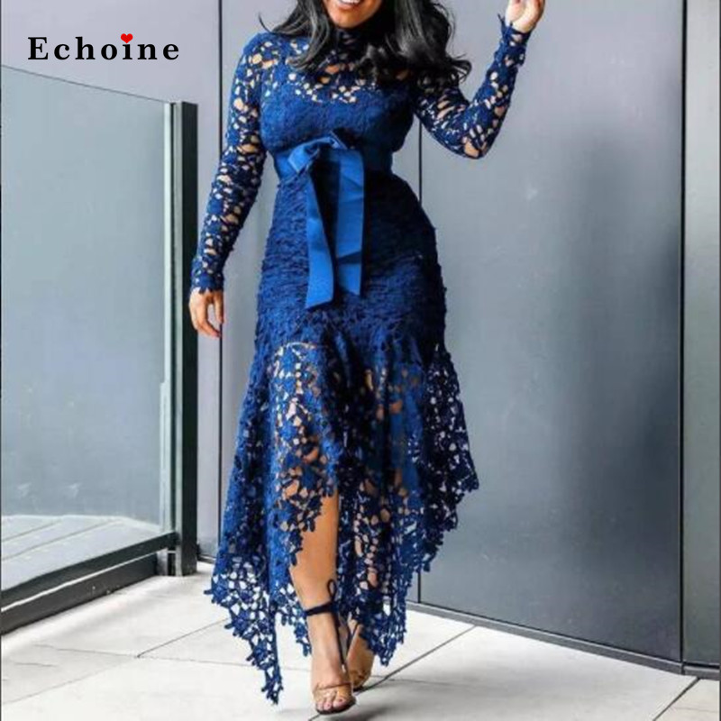 Echoine Slim <font><b>Sexy</b></font> <font><b>Dress</b></font> <font><b>Women</b></font> Spaghetti Straps Lace Mesh Perspective <font><b>Party</b></font> Fishtail Patchwork Midi Bodycon Plus Size Vestidos image