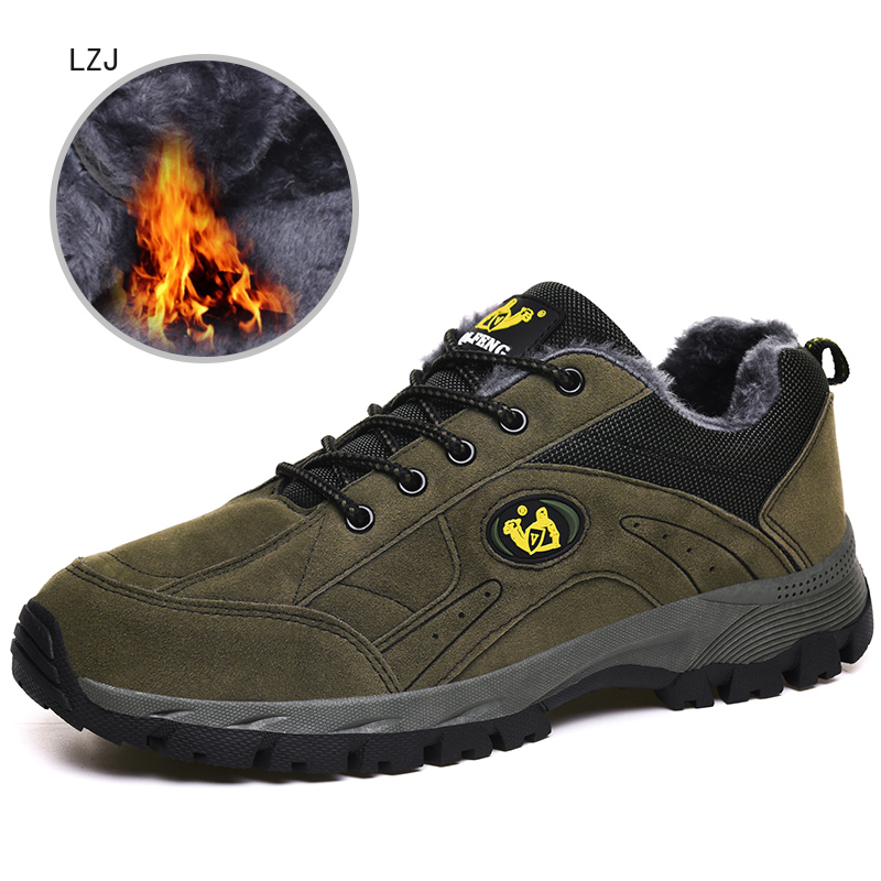 LZJ Winter Shoes Men Big Size 38-48 Warm Men's Boots Sneakers Ankle Warm Plush Snow Boots For Man Footwear New 2020