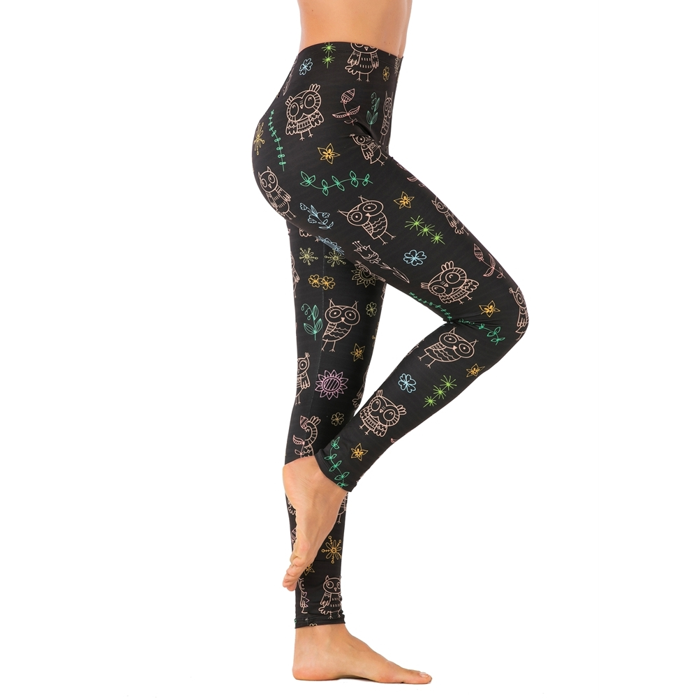 Brands Women Fashion Legging Black Doodle Owl Printing Leggins Sexy Slim Legins High Waist Leggings Woman Fitness Pants