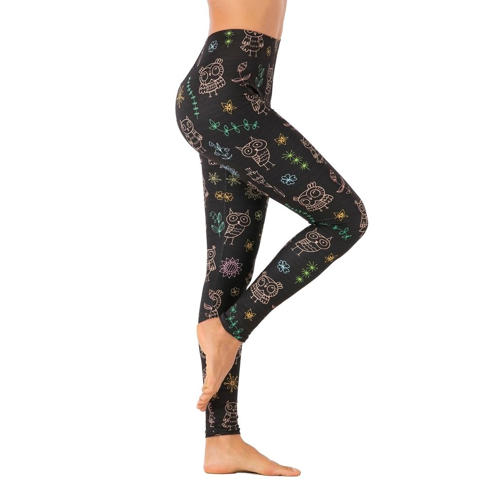 Brands Women Fashion Legging Black Doodle Owl Printing Leggins Sexy Slim Legins High Waist Leggings Woman Fitness Pants