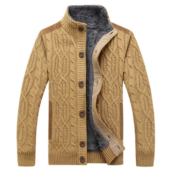 Cardigan Men Yellow Green Blue Sweater 2020 Winter  Plush Thickened Large Size Knitted Sweatercoat Stand Collar Cardigan Sweater olive green shawl collar open front cocoon cardigan