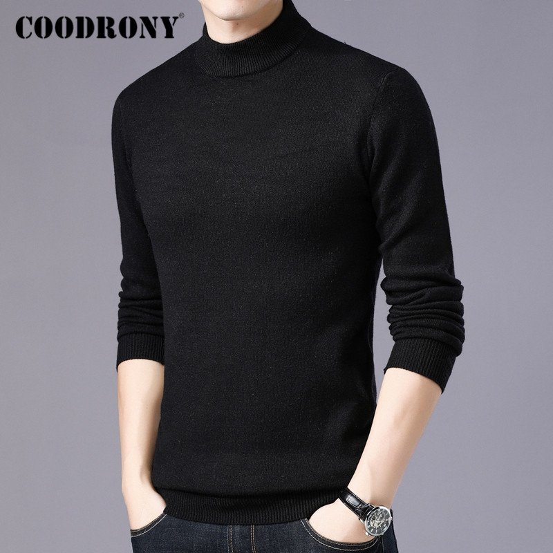 COODRONY Brand Turtleneck Sweater Men Fashion Casual Pull Homme 2019 Winter Thick Warm Sweaters Soft Knitwear Pullover Men C1014
