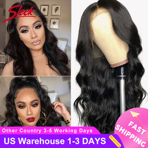 Sleek Brazilian Remy 13x4 Lace Front Human Hair Wigs 8-28 30 Inch Body Wave Human Hair Wigs Pre Plucked Hairline With Baby Hair(China)