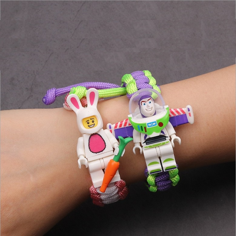 Creativity  Woody Buzz Lightyear Batman Building Block Hand Woven Bracelet Cartoon Character Accessories Festival Gifts For Kids