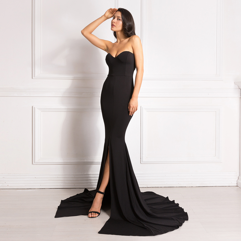 Sexy Strapless Padded Mermaid Dress Long Split Front Bodycon Red Black Maxi Dress Floor Length Party Dress