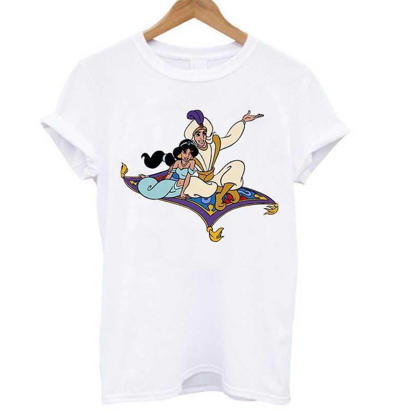 Aladdin camisa de manga curta princesa jasmine voando tapete topos senhora dos desenhos animados 2020 t camisa feminina estilo coreano branco topos
