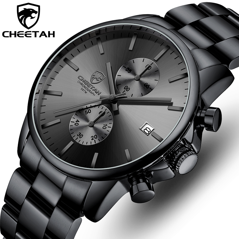 New CHEETAH Men Watch Luxury Brand Business Black Quartz Watches Mens Waterproof Chronograph Sport Wristwatch Date Male Clock
