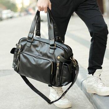 Мужская сумка-мессенджер TANGHAO, винтажная дорожная сумка через плечо из искусственной кожи, многофункциональная деловая сумка для активного...
