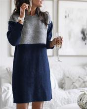 Женское платье свитер с круглым вырезом красное свободное длинным