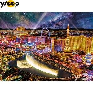 Полностью квадратная/круглая Алмазная картина, вышивка крестиком, светится в Лас-Вегасе, алмазная вышивка, стразы, мозаика, Декор, EX0607